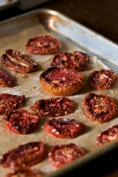Slow-roasted tomatoes. So yummy spread on some fresh sourdough bread. I used sungold cherry tomatoes when I made this over the summer.
