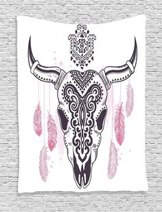 Tribal Dreamcatcher Skull Wall Fabric Tapestry