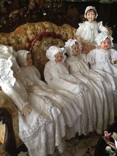A gathering of the antique dolls.