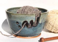 Ceramic Yarn Bowl inSky Blue with Soft Green around rim, Ceramic Knitting Bowl,  Knitting supplies, wool storage in Stock Ready to Ship by bridgespottery on Etsy
