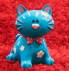 Blue Kitty Cat Piggy Bank