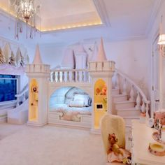 Princess bedroom decor! This is a little girls dream room (or maybe even my dream room) :)