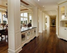 I like the book shelves to define different spaces in the open concept floor plan
