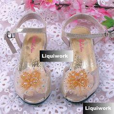 Gold Beaded High Heel Flower Girl Girls Glitz Pageant Sandals Shoes SKU-133535