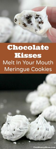 Looking for a unique but absolutely delicious meringue cookie recipe? These Chocolate Kisses are melt in your mouth good! Looking for a unique but absolutely delicious meringue cookie recipe? These Chocolate Kisses are melt in your mouth good! Best Dessert Recipes, Easy Desserts, Delicious Desserts, Yummy Food, Unique Cookie Recipes, Coconut Desserts, Delicious Cookies, Chocolate Chip Meringue Cookies, Meringue Cookie Recipe