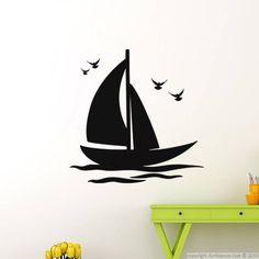 Stickers muraux pour salle de bain - Sticker mural Bateau et oiseaux | Ambiance-sticker.com