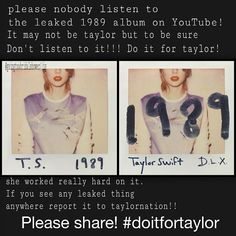 SHARE THIS TO ALL YOUR TAYLOR SWIFT BOARDS!!!!! #swiftieswillwait #doitfortaylor