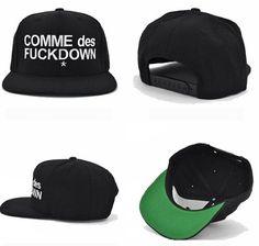 New COMME des FUCKDOWN Hat Snapback Baseball Cap Flat Brim Black Adjustable 998d1a0c42d