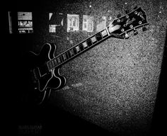 """A beautiful Gibson """"Lucille"""" hanging on the wall of B.B. King's Blues Club on Beale Street in Memphis."""