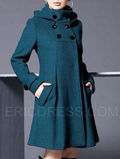 Wool Blend Hoodie Long Sleeve Plain Plus Size Coat Winter Coats Women, Coats For Women, Clothes For Women, Cheap Clothes, Langer Mantel, Plus Size Coats, Mermaid Evening Dresses, Mode Hijab, Ideias Fashion