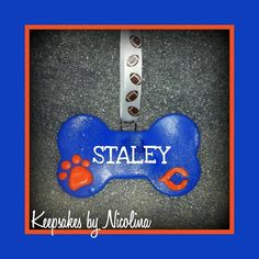 Personalized Bears Dog Bone Ornament by KeepsakesByNicolina,  Perfect for the #1 Bears Fan in your life and their loving pup. This Bear's themed bone ornament can be personalized with the name of your choice. Size is as follows: 2 inches tall by 3 1/4 wide. Follow us on Facebook: www.Facebook.com/KeepsakesByNicolina