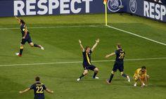 Zlatan celebrates his goal that opened scoring against Ukraine