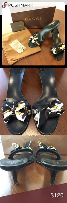 Gucci Sandals Perfect for summer! Black heeled sandals with silk bow detail. 2 inch heel. Comes with original box, dust bags, and heel cap replacements. Light creasing and small mark on heel as shown in the photos. Great condition. Gucci Shoes Sandals