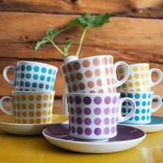 "My latest find purple ""POP"" coffeecup made by Arabia Finland this is really rare color by vintageinteriorxx Vintage Coffee Cups, Ceramic Coffee Cups, Vintage Cups, Retro Vintage, Vintage Kitchen, Kitchen Art, Surface Pattern Design, Scandinavian Design, Tea Set"