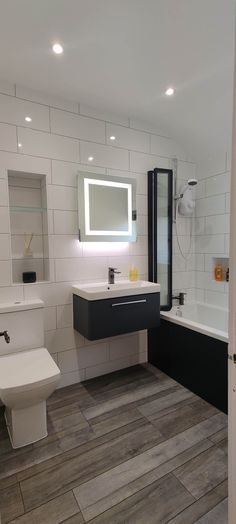Increased Storage Space In This Latest Bathroom Transformation - Blok Designs Ltd Fitted Bathrooms, Luxury Bathrooms, White Wall Tiles, White Walls, Long Bath, Topps Tiles, Vinyl Flooring, Storage Spaces, Bespoke