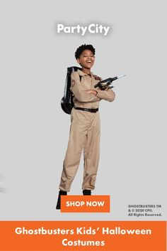 Shop now for all your kids Halloween costumes at Party City. Ghostbusters Kids, Ghostbusters Costume, Proton Pack, Ghost And Ghouls, Halloween Costumes For Kids, Packing, Fun, City, Shop