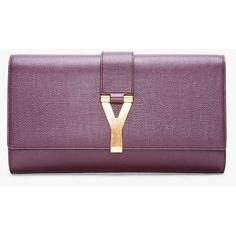 YVES SAINT LAURENT Large Dark Aubergine Chyc Clutch (860,620 KRW) ❤ liked on Polyvore featuring bags, handbags, clutches, purses, purple, man bag, leather hand bags, purple leather purse, purple handbags and genuine leather purse