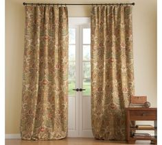 Simone Drape | Pottery Barn another view with light walls and cast iron hardware - with rings.
