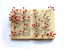 Ines Seidel Dictionary, pins, polymer clay with artist's fingerprints Lovely poem on her website describes the piece Haiku, Book Crafts, Paper Crafts, Collage Kunst, Folded Book Art, Book Sculpture, Found Art, Book Projects, Handmade Books