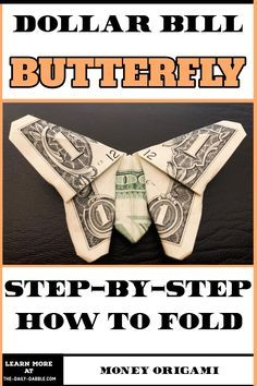 Easy Money Origami, Oragami Money, Money Origami Heart, Money Origami Tutorial, Origami Butterfly Easy, Origami Guide, Origami Cards, Money Lei, Butterfly Gifts