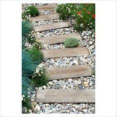 Railway sleeper path set in pebbles - 'Shinglesea' garden, Chelsea 2007 - GAP Photos