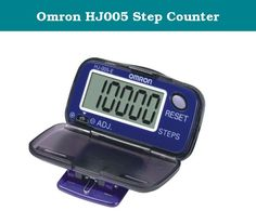 Omron HJ005 Step Counter. Omron HJ005E Lightweight Pedometer with Large Display Product Features The Omron HJ005 pedometer/step counter monitors every step you take and displays the results on a large LCD display. Large LCD display Lightweight Easy to use Belt clip.