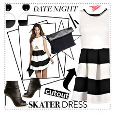 """summer style: cutout skater dress"" by maria-maldonado ❤ liked on Polyvore"