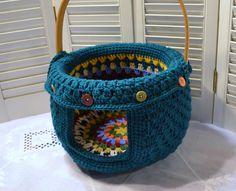 Crochet Cat Cave Pet Bed Upcycled Basket Teal Granny Square Handmade Littlestsister by LittlestSister on Etsy https://www.etsy.com/listing/210007543/crochet-cat-cave-pet-bed-upcycled-basket
