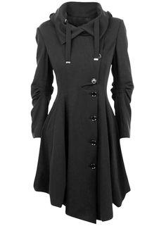 Azbro Women's Button Closure Asymmetrical Hem Black Cloak Coat Nail Design, Nail Art, Nail Salon, Irvine, Newport Beach