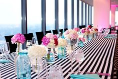 Black & White And Pink All Over A Up In The Clouds Wedding Fete With 360 Degree Views