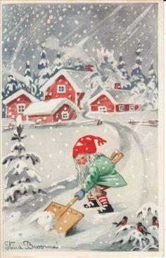 Stina Broomé Tomte skottar snö God Jul pg 1968 ? Helger KV 6 7 hörnveck