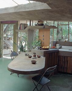 """ahoradote: """"Artists House Russel Wright's Handmade Rock Home in New York, 1950 """" Kitchen Interior, Interior And Exterior, Kitchen Design, Interior Design, Handmade Home, Oyin Handmade, Handmade Dolls, Handmade Pottery, Handmade Crafts"""