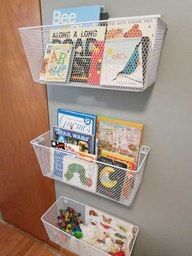 Wire baskets screwed on wall or door for book storage.
