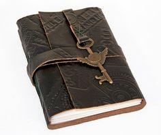 Embossed Black Leather Journal