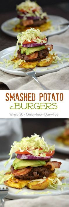 Potato Burgers No bun, no problem. You won't even miss it once you dig into these delicious Smashed Potato BurgersNo bun, no problem. You won't even miss it once you dig into these delicious Smashed Potato Burgers Whole 30 Diet, Paleo Whole 30, Whole 30 Recipes, Low Carb Sandwich, Clean Eating Recipes, Healthy Eating, Clean Foods, Healthy Food, Paleo Recipes