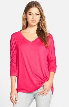 Pleione+V-Neck+Top+with+Woven+Back+Panel+available+at+#Nordstrom