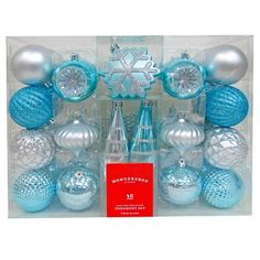 Add a retro tone to your holiday décor with the Wondershop Fashion Silver and Blue Shatterproof Christmas Ornament Set. These beautiful vintage-looking ornaments won't break if they f… Turquoise Christmas, Silver Christmas Tree, Christmas Ornament Sets, Coastal Christmas, Christmas Themes, Christmas 2017, Silver Ornaments, Fall Home Decor, Tree Decorations