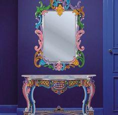 Wandspiegel-bemalter-Rahmen-Ibiza-Kollektion | Boho spaces ...