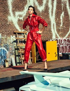 Kati Nescher Revs Up Chris Colls Images In 350 KM/H For Vogue Mexico November 2016 — Anne of Carversville Leather Jumpsuit, Leather Pants, Leather Catsuit, Red Leather, Vogue Spain, Bond Girls, Vogue Magazine, Leather Design, Unisex