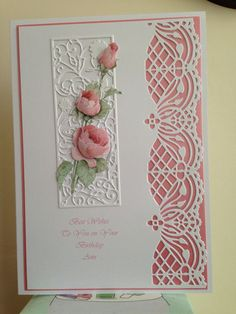 5072 best handmade greeting cards images on pinterest in 2018 love the coloured cardstock under the lace edger joanna sheen edge die pretty idea i often struggle with ideas for edged cards m4hsunfo