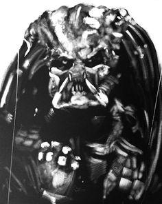 Predator, Black & White, Art, Portrait, Original Painting, Movie, Sci FI