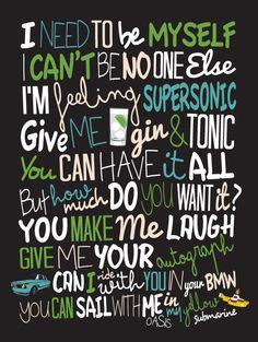 Oasis Supersonic / Song Lyric Typography Poster door CreativePrint, £10.00