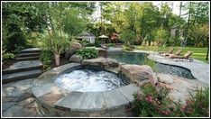 Swimming Pool Landscaping Ideas Bergen County Northern NJ - traditional - pool - new york - Cipriano Landscape Design & Custom Swimming Pool. Swimming Pool Landscaping, Small Backyard Landscaping, Swimming Pools, Landscaping Ideas, Backyard Pools, Outdoor Pool, Concrete Backyard, Swimming Tips, Big Backyard