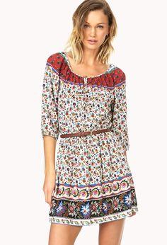 Sweet Floral Peasant Dress w/ Belt | FOREVER21 - 2000063789