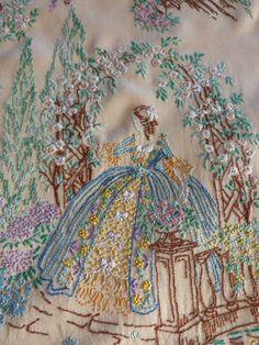 vintage hand embroidered picture panel on silk crinoline lady sampler