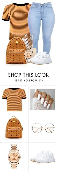 """""""UNTITLED #205"""" by yourstrulylanah ❤ liked on Polyvore featuring Boohoo, MCM, Movado and NIKE"""