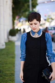 layered denim and necklace as collar--cool!