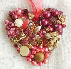 Deep Garden Rose Pink Heart Vintage Jewelry Embellished Mirrored Ornament