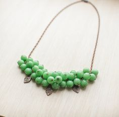 Green necklace. Copper necklace. Nephritis. by BubiShop on Etsy, $46.70