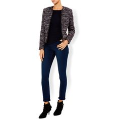 Monsoon Arya Zipped Boucle Jacket (€130) ❤ liked on Polyvore featuring outerwear, jackets, zipper jacket, zip jacket, boucle jacket, slim jacket and blue zipper jacket